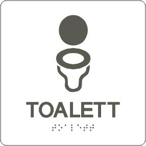 Icke gamla Taktil skylt- Toalett -Hård plast 150x150mm vit/mörkgrå - Kelo MQ-95