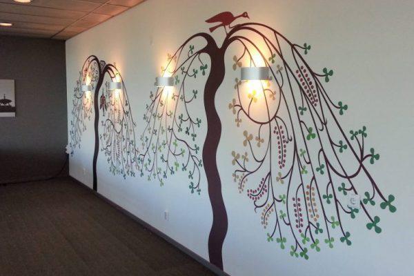 4-färgsprint träd med fågel