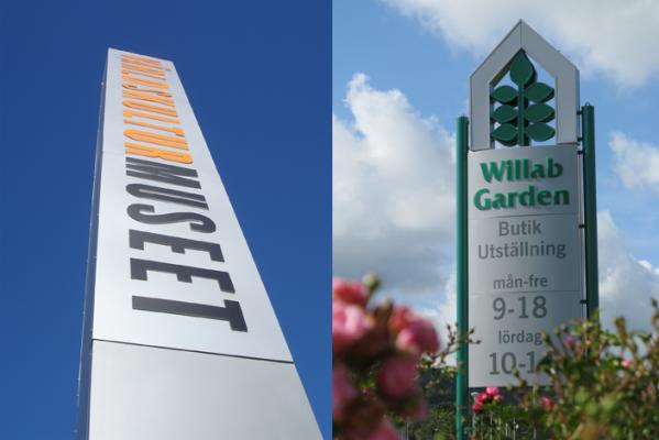 Pylon/stolpskylt Willab Garden