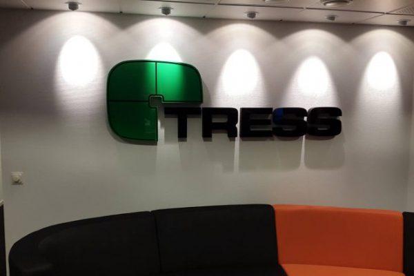 Frigolitskylt TRESS grön svart