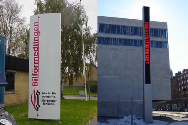 Pylon/stolpskylt världskulturmuseet Bilförmedlingen